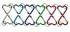 Carabiner Key Chain Heart Shaped Key Ring Belt Clip Snap Aluminum (Lot of 12)