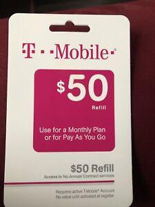 T-Mobile Prepaid $50 Refill Card (Direct)