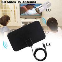 50 Miles Mini Thin Flat Indoor Antenna Aerial HD TV Fox Scout HDTV VHF UHF DTV