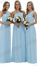 Long One Shoulder Chiffon Wedding Formal Evening Party Prom Bridesmaid Dress6-26