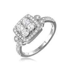 925 STERLING SILVER SQUARE FILIGREE HALO RING W/  DIAMOND/ SZ 5-9/ NEW DESIGN!