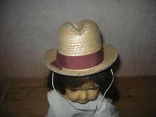 Ancien chapeau en paille tressée pour poupée ancienne de début XXe ou Art Déco.