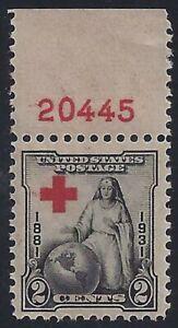 """702 Huge Color Shift Error / EFO """"Red Cross"""" Pl# Single Mint LH"""