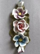 """CAPODIMONTE Porcelain Flowers Arrangement  10"""" Roses Home Ornament Centerpiece"""