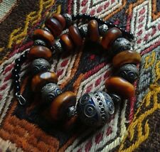 Vintage African Berber handmade enamel Amber Blue Ball talisman necklace jewelry