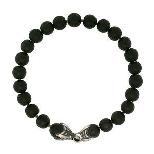 """David Yurman Men's Silver Matte 8MM Black Onyx Spiritual Beads Bracelet 8"""""""