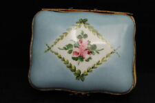Vintage Hand Painted Blue Trinket Box w/ Gilt Bronze Mounts - Made in France