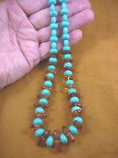 "pb-419) Turquoise bead Baltic AMBER chip ORANGE Poland 21"" long NECKLACE jewelry"