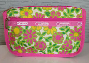 LeSportsac Happy Daisy Flowers Cosmetic Makeup Accessories Nylon Zip Bag 8x5