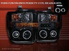 2008-2010 FORD F250/F350/F450 BLACK PROJECTOR HEADLIGHTS CCFL TWIN HALO w/LED