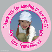 70 x Personalised Girls Birthday Party Bag Photo Stickers Cute Picture sweet 151