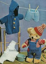 VINTAGE KNITTING PATTERN FOR  TEDDY BEAR CLOTHES - HAT COAT DUNGAREES SWEATER7