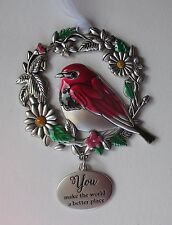 GD You make world better place BLESSED BEYOND MEASURE Bird Ornament car charm