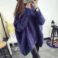 Women Casual Faux Mohair Cloak Sweater Asymmetry Batwing Sleeve Jumper Pullover