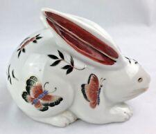 Vintage Bunny Rabbit Figurine / Action - Japan with Butterflies