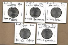 2013 - P Complete State Parks Quarter Set (5) Coins Nevada Maryland Ohio BU