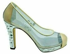 Womens Designer Chanel Transparent Platform Heels 38.5