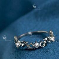 18K White Gold GF women's wedding Ring Simulated Diamond slim fashion