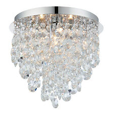 Endon Kristen 3lt flush bathroom ceiling light IP44 18W crystal detail & chrome