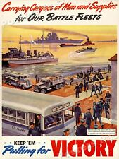 """1940s """"Men and Supplies for Our Battle Fleets"""" WWII Propaganda War Poster 24x32"""