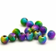 100 Multicolor Stardust Round Beads Acrylic Spacer Beads 6mm Dia.