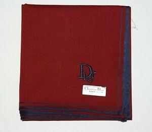 Christian Dior Men's 100% Cotton Handkerchief Burgundy Navy Embroidery w/Tag