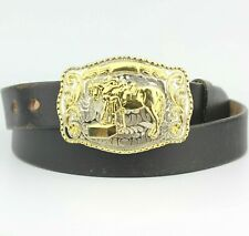 Black Thick Real Leather Belt Large Gold Pin Buckle 40""