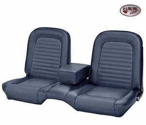 1964-1/2 -1965 Ford Mustang Coupe Blue Front & Rear Bench Seat Upholstery - TMI