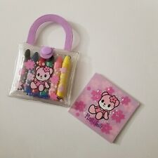 2002 Pinki Lili Bear Miniature Crayon Sketchbook Set Pouch Rare - Sanrio - MINI