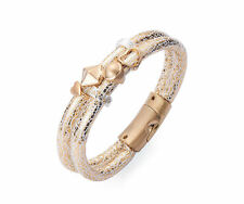 Matte Gold & White 2 Row Magnetic Bracelet Gold and Silver Charms Heart, Pyramid