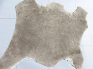 sheepskin shearling leather hide Curly Plush Hair Taupe w/smooth Distressed back