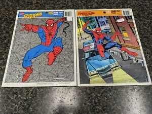2-THE AMAZING SPIDER-MAN FRAME TRAY PUZZLE (1990 GOLDEN) NEW SEALED