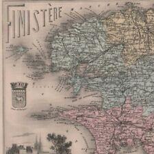 Le Finistère - - Département Géographie France - Carte ancienne 1893