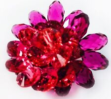 USA BROOCH Swarovski ELM Crystal PIN fashion Wedding Flower Gold plated Rose Red