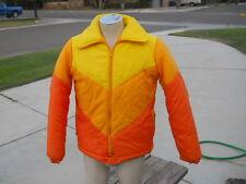 Vintage Bright Colored Nylon Snow Board Sking Jacket  Men's Sz S Orange Yellow