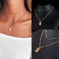 Bohemian Pineapple Necklace Chain Multilayer Pendant Women Choker Charms Jewelry