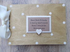 PERSONALISED VINTAGE FRIENDSHIP WOODEN SCRAPBOOK/PHOTO BOOK /MEMORIES