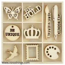 Kaisercraft Wooden Flourish Pack Chipboard Embellishment Scrap Studio