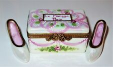 "LIMOGES BOX - IRIDESCENT ""PARIS"" TRUNK & PAIR OF WEDDING SHOES - ROSES & RIBBONS"