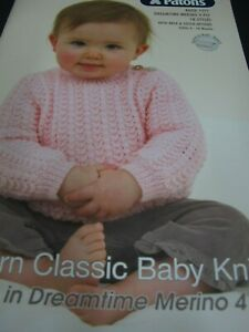 PATONS KNITTING PATTERN BOOK.NO 1271 FOR BABIES,4PLY DREAMTIME,18 STYLES,NEW
