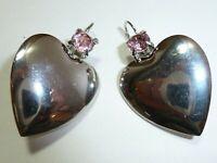 "LOVELY Vintage Hearts Prong Set Pink Rhinestone Silver Tone 1.5"" Dangle Earrings"