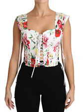 DOLCE & GABBANA Corset Top Blouse White Floral Cropped IT44 / US10 / L RRP $1260