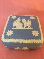 "Vintage Wedgewood Blue & White Jasperware 4"" Inch Trinket Box Collectible"
