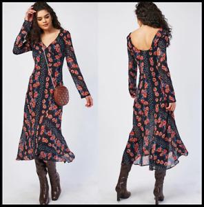 Top Shop Black Pink Floral Midi Maxi Dress Chiffon Lined