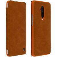 Nillkin Qin Series flip wallet case, built-in card slot Oneplus 7T Pro- Brown