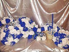 Royal blue and white wedding flower package teardrop bridesmaids flower basket