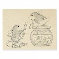 HOUSE MOUSE RUBBER STAMPS PEPPER POWER NEW WOOD STAMP