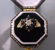 Women's 9ct Gold Sapphire & Diamond Ring Hallmarked Weight 1.7g Size J Stamped