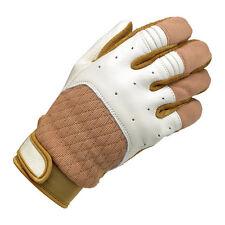 Biltwell Bantam Motorrad Handschuhe, Leder Synthetik Mix, beige weiß Größe S