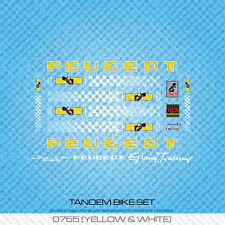 Peugeot Tandem Bicycle Decals - Transfers - Stickers - Yellow & White - Set 755